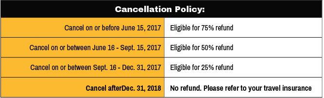 Legends of Pittsbrugh Cancellation Policy