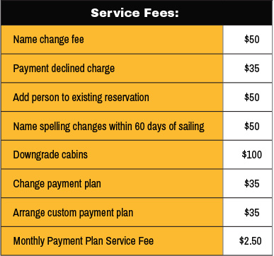 Legends Cruise Services and Fees Policy